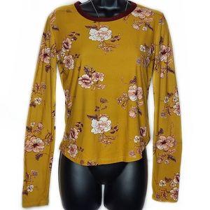 Rue21 Mustard Yellow Long Sleeve Floral Shirt - M